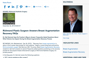plastic surgeon in richmond, breast augmentation, recovery from breast augmentation