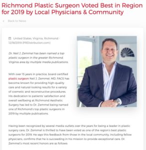 Dr. Neil Zemmel has received multiple awards naming him a best plastic surgeon in Richmond and Virginia for 2019.